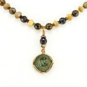 Jewelry - Ancient Coin on Beaded Necklace